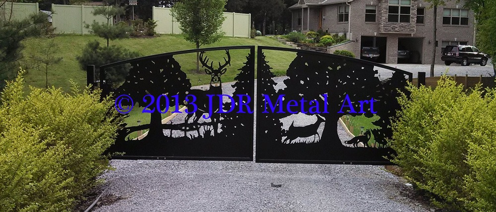 Front driveway gates featuring deer wildlife Plasma Cut by JDR Metal Art.