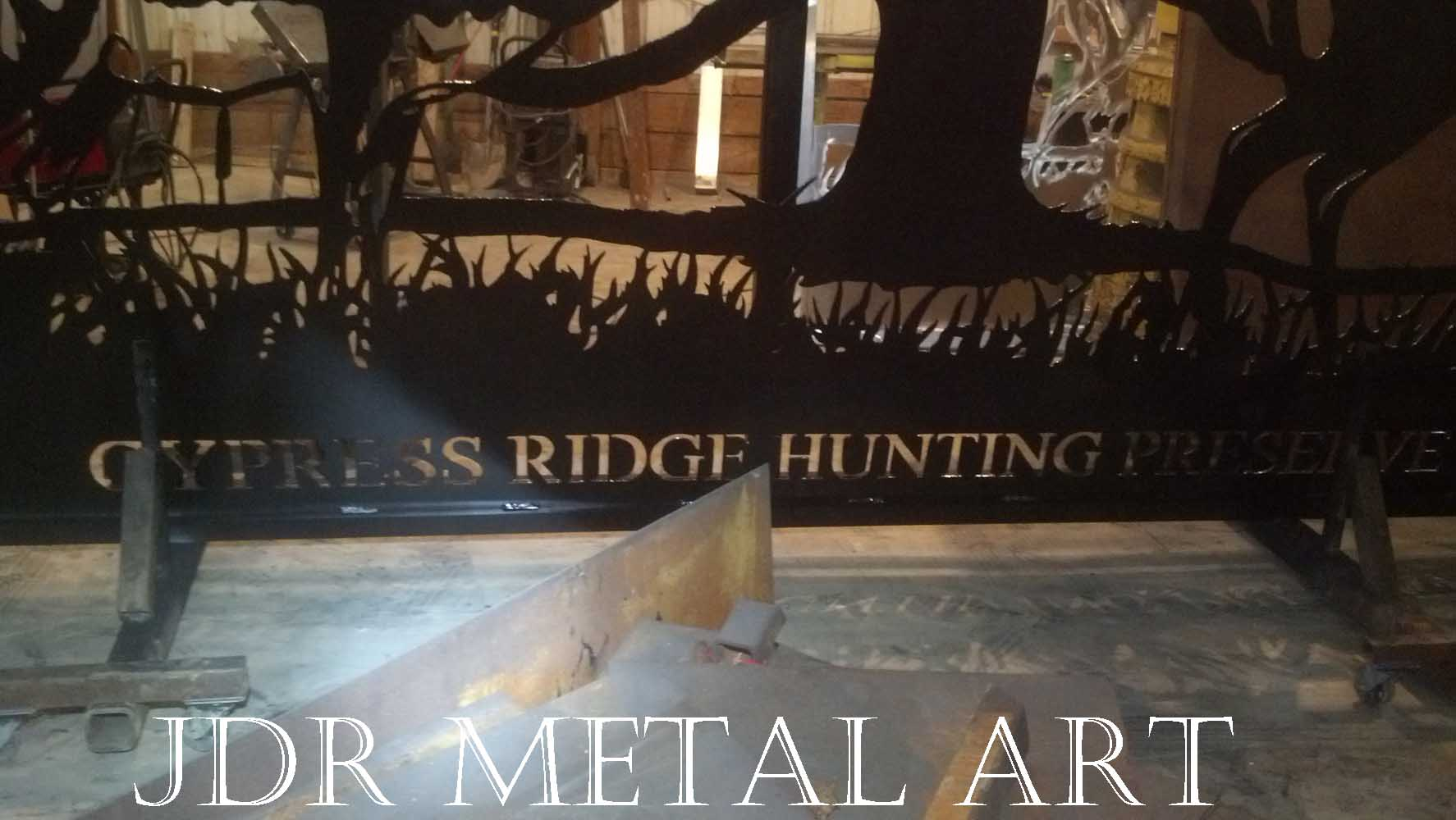 Gate lettering for Cypress Ridge Hunting Preserve in Florida.