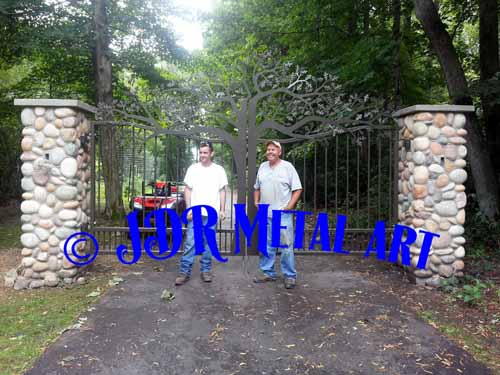 Driveway Gates with oak tree design plasma cut by JDR Metal Art.