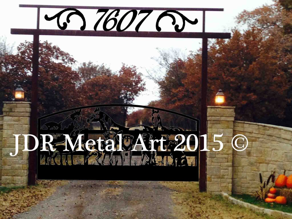 Oklahoma city driveway gates featuring horses dogs fence metal art silhouettes.