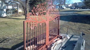 Primed steel metal art oak tree gate by JDR