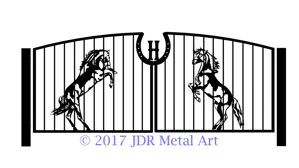 Design of rearing horses on a driveway gate.