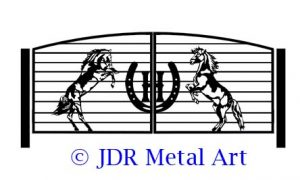 Driveway gates with rearing horses design theme.