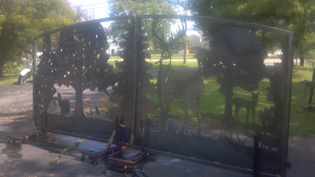 West Virginia driveway gates dual swing deer turkey plasma cut by JDR Metal Art.