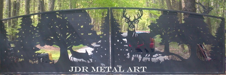 Driveway gates with plasma cut wildlife deer silhouettes by JDR Metal Art