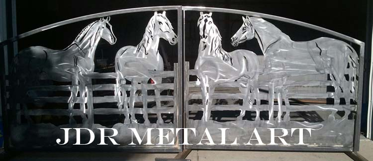 Custom driveway gates by JDR metal art with horse themed design.