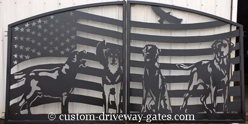 Driveway gates with american flag design.