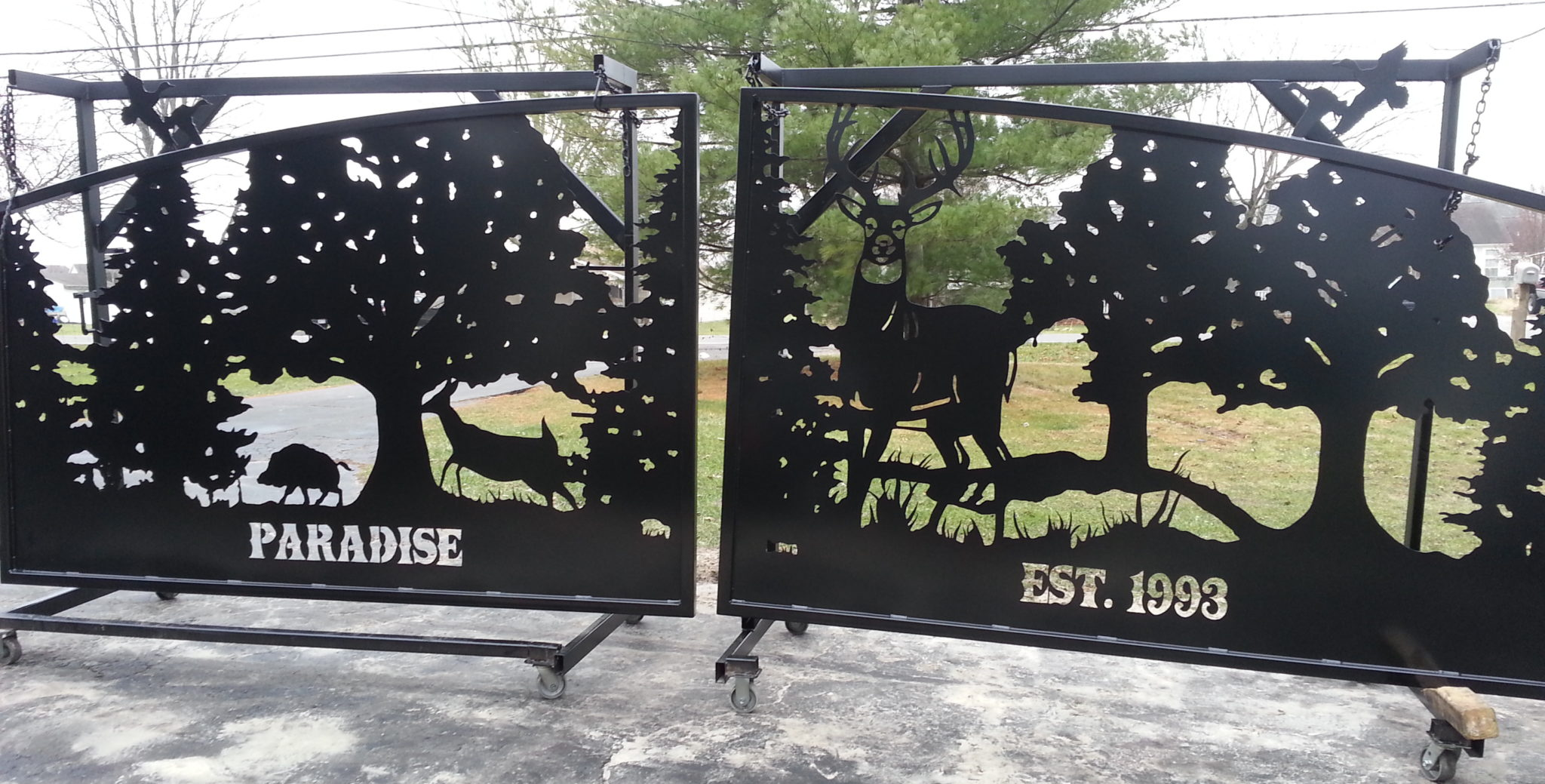 Hummingbird Home Decor Driveway Gate Design Whitetail Deer Boar Duck Custom