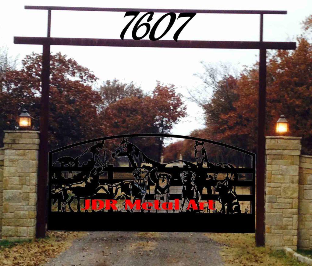Oklahoma City, Oklahoma driveway gates with custom horse and dog design.