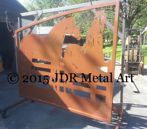 Lousiana plasma cut gates horse themed fence design by JDR Metal Art 2015
