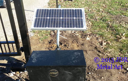 Solar panel for decorative gate's automatic opener.