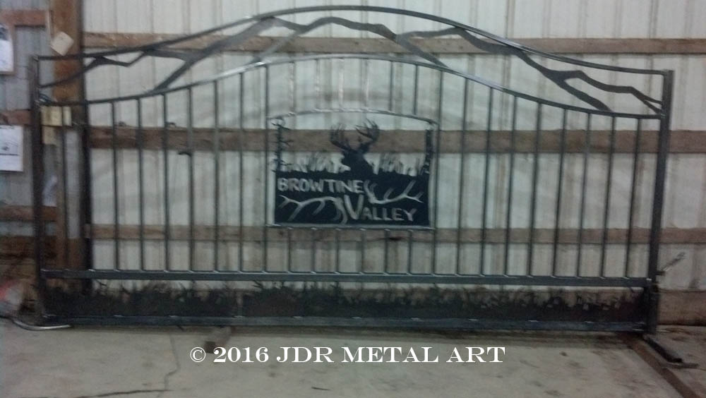 Custom fabricated picket gate with mountains grass and deer by JDR Metal Art 2016
