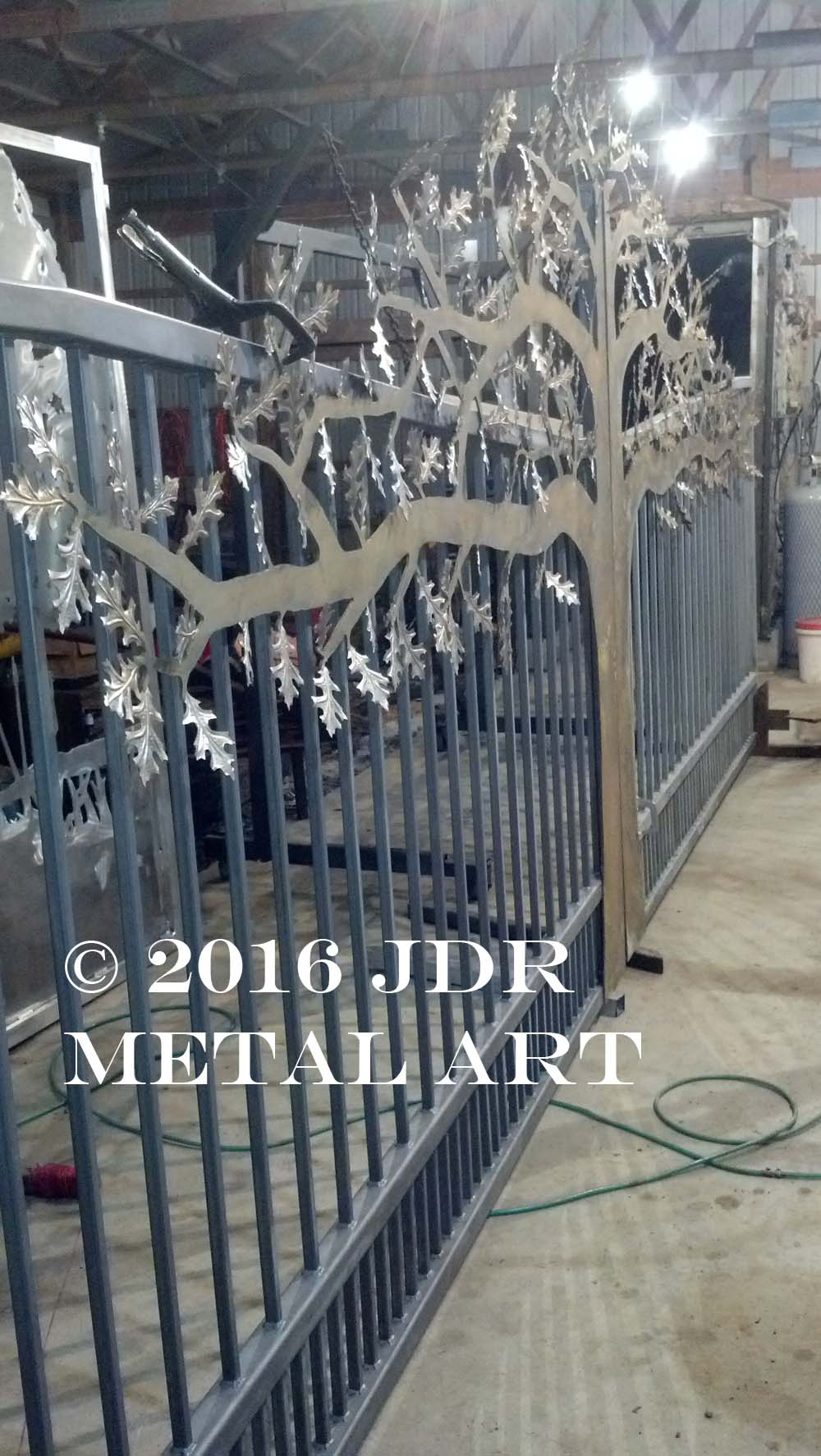Custom Tree Driveway Gate made by JDR Metal Art.
