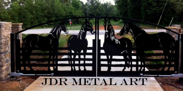 Driveway gates with decorative plasma cut silhouettes by JDR Metal Art e1615156000369