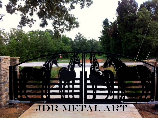 Atlanta ornamental driveway gates with horse silhouettes for decorative fencing with stone columns and gate posts. Everything is powder coated black.