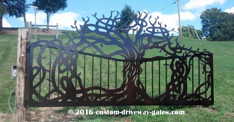 Estate gate with LA 500 driveway gate opener on 16' wide, 8' tall single swing gate panel.