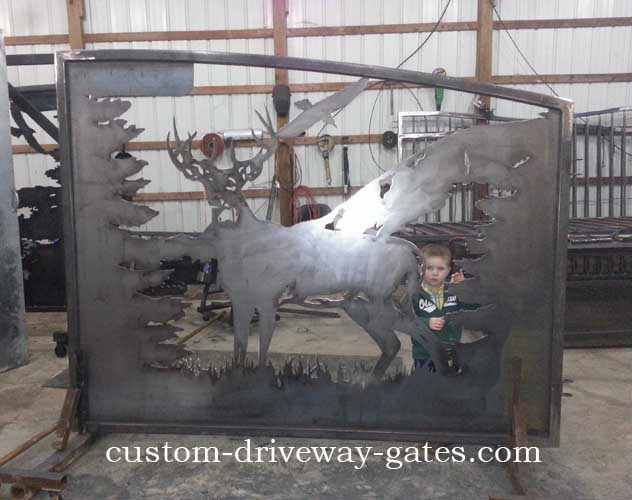 Decorative deer driveway gate plasma cut by JDR Metal Art.