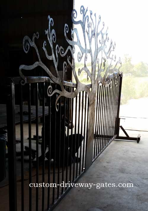 driveway gate curly tree design rusty by jdr metal art