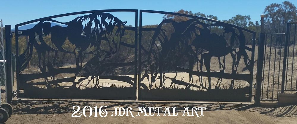 Southern California Driveway Gates | Custom Horse & Dog Design by JDR Metal Art