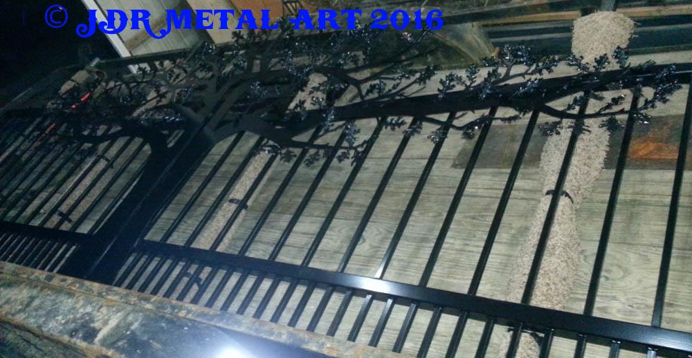 Knoxville TN driveway gates oak theme 2 by JDR Metal Art 1