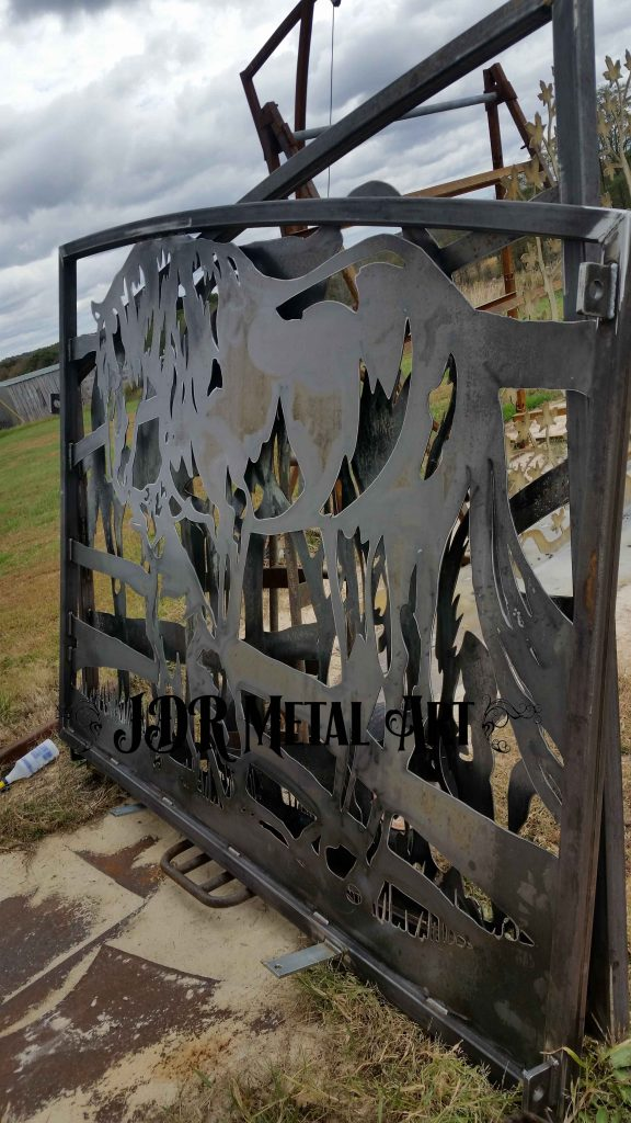 Ranch gates before sandblast and powder coat.