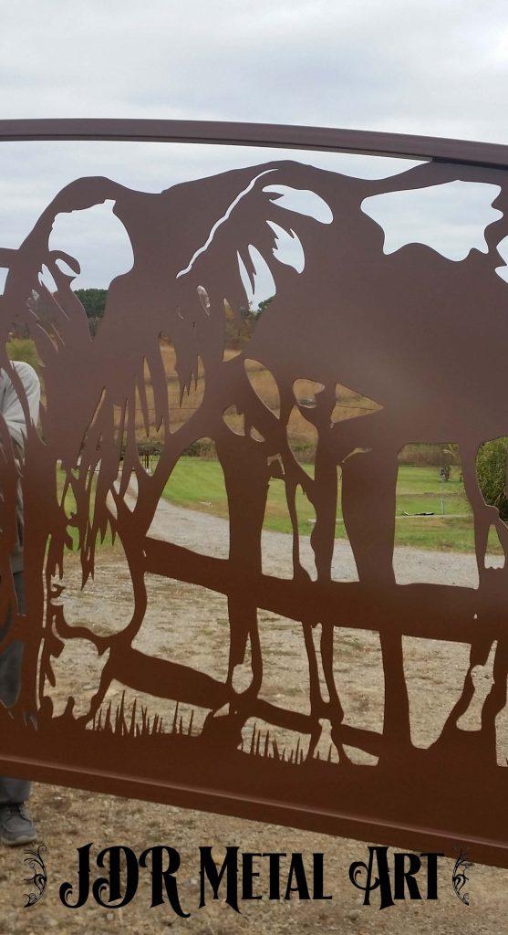 Horse design for TX ranch gate by JDR MEtal Art April 2020
