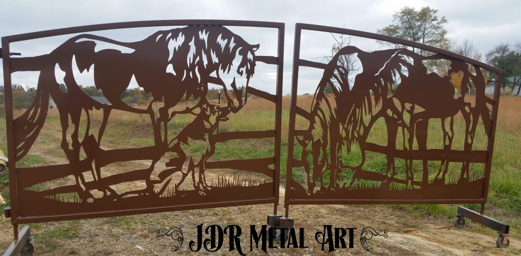 Powder coated gates for Texas driveway entrance.