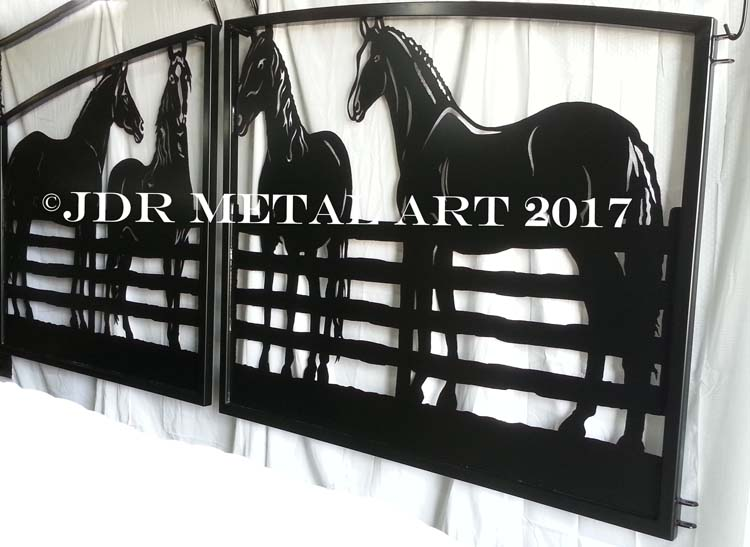 Gates with horse design made for South Bend Indiana home.