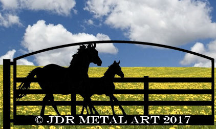 Horse farm gate design with running mare and foal silhouette.