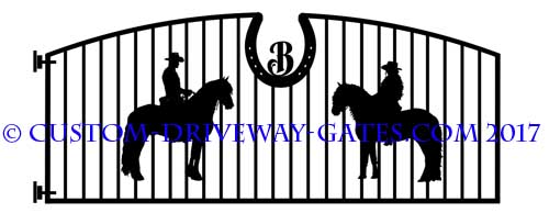 Friesien and andalusion driveway gate design with arched top and horse shoes.