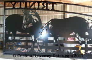 plasma cut horse design for western ranch entry gates