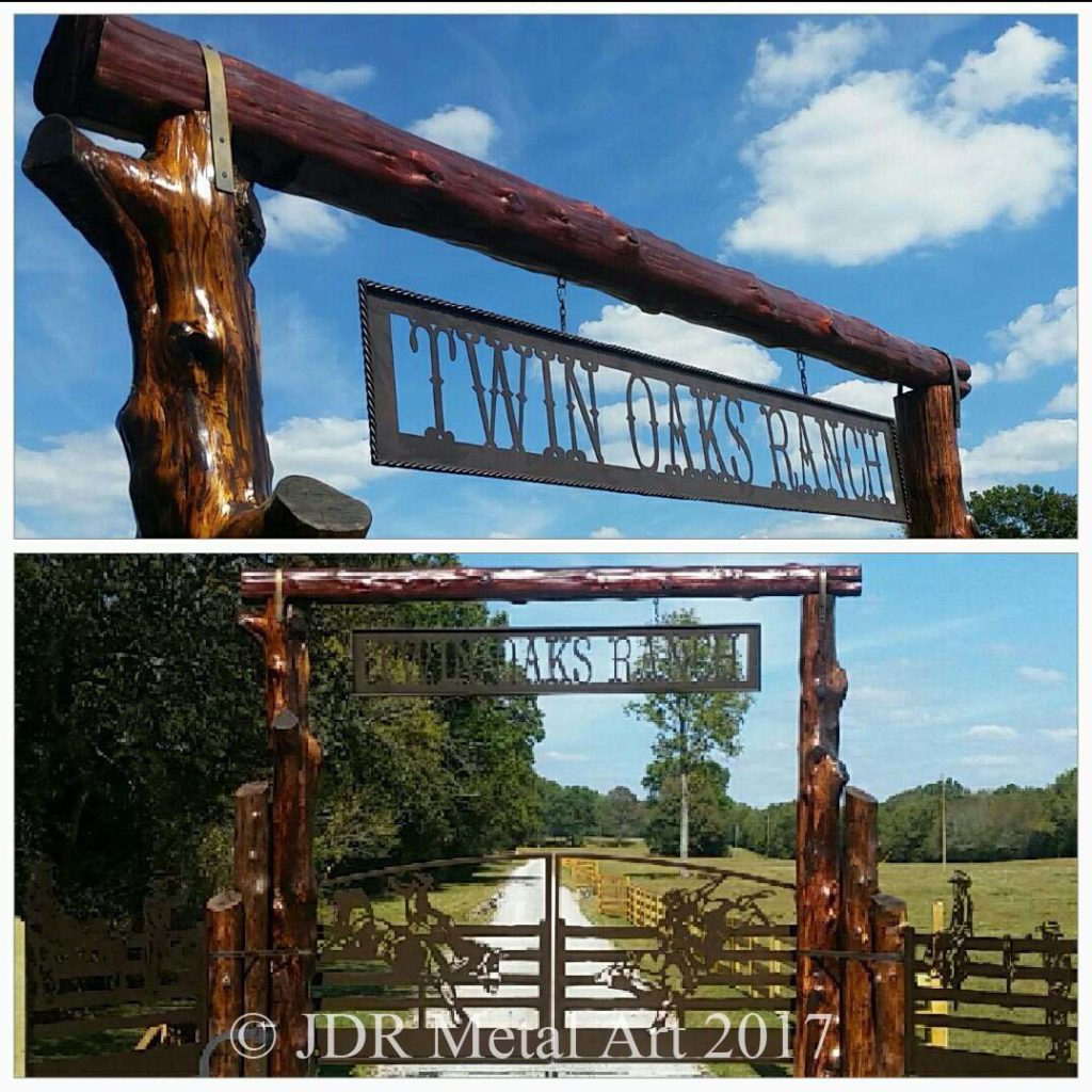 Tennessee driveway gates with metal art rodeo theme design.