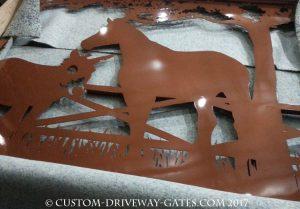 Aluminum driveway gates Los Angeles Copper powder coat finish