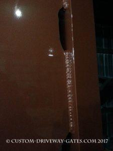 Driveway Gate Weld on aluminum copper finish
