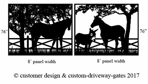 Los angeles driveway gate design with horses.