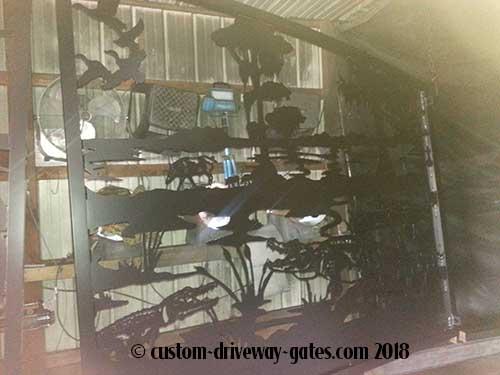 Swamp Theme Driveway Gate Deer Alligators Ducks Cypress