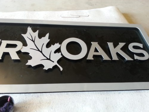 Custom aluminum sign lettering plasma cut by JDR.