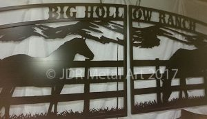 Custom driveway gates for Colorado horse ranch by JDR Metal Art.