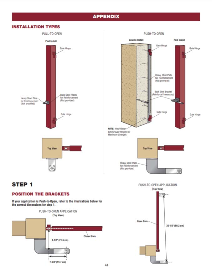 Guide showing how a driveway gate post is installed to a driveway gate, or how a driveway gate can be installed to a masonry column such as stone or brick.