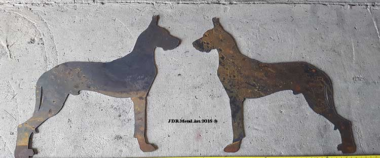 Great dane plasma cut silhouettes for driveway gate.
