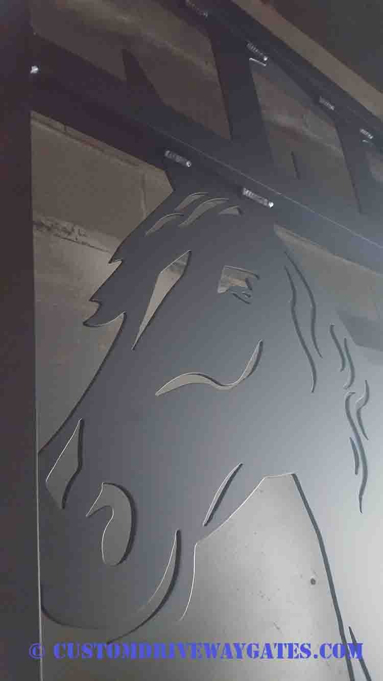 Horse face driveway gate plasma cut by jdr metal art 2018