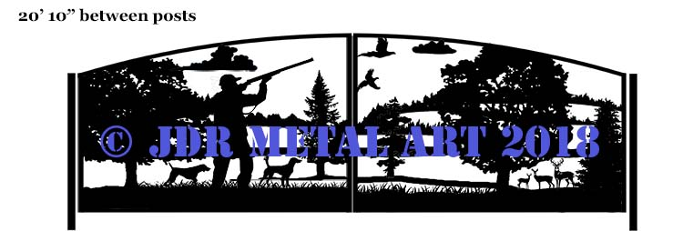 Design of driveway gates with hunting dogs, hunter, pheasants, clouds, trees and deer in hills background nature scene.