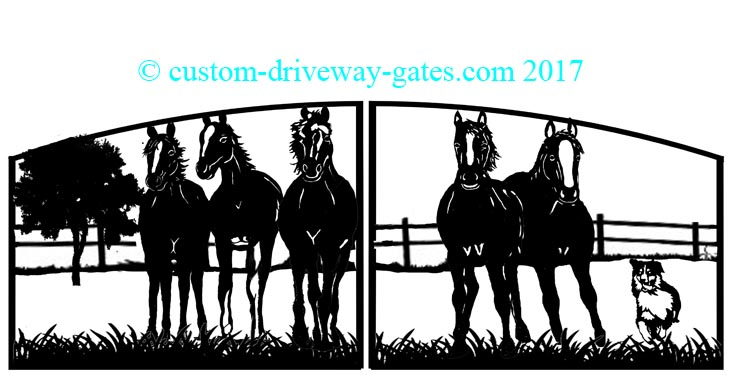 Custom driveway gate design with horses and dog silhouettes.
