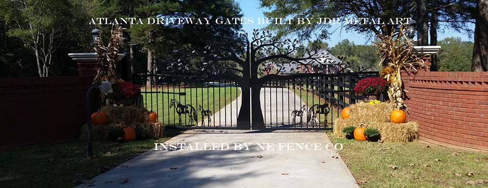 Atlanta driveway entry gates custom built by JDR Metal Art installed by NE Fence