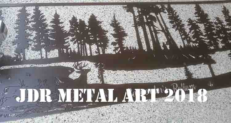 Custom metal sign with deer jumping fallen tree pine swamp scene
