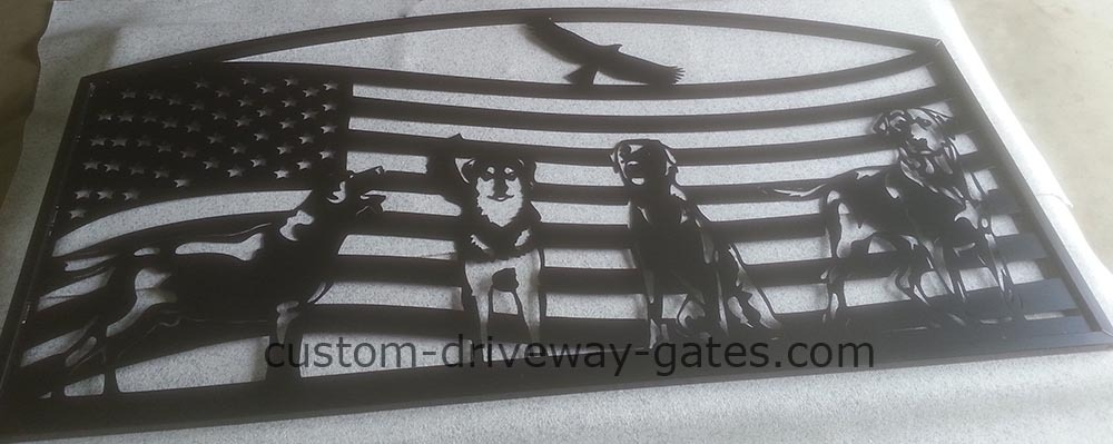 Arkansas Driveway Gates with American Flag & Dogs Theme