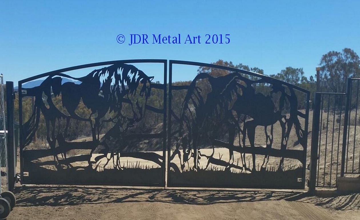 California Driveway Security Gate with Horses and dog silhouettes by JDR Metal Art 2016 unsmushed Copy Copy Copy