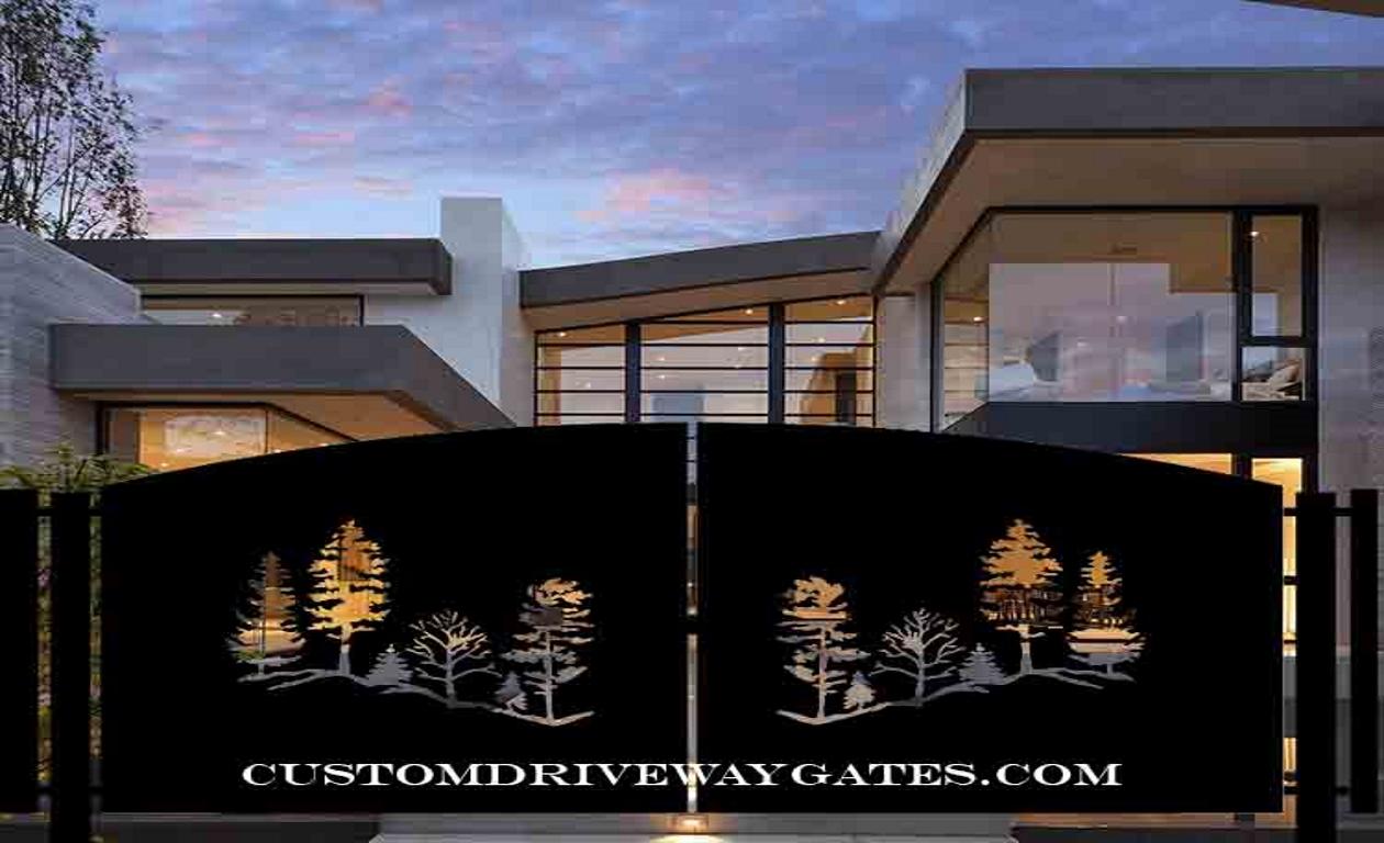 Modern driveway gate with tree design.
