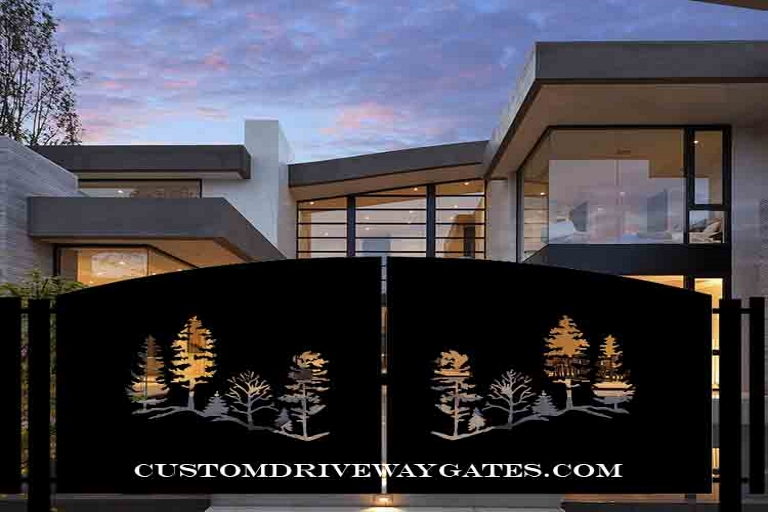 Modern driveway gate with tree design, silhouettes plasma cut into the design and gate hinges and posts with a residence in the background.
