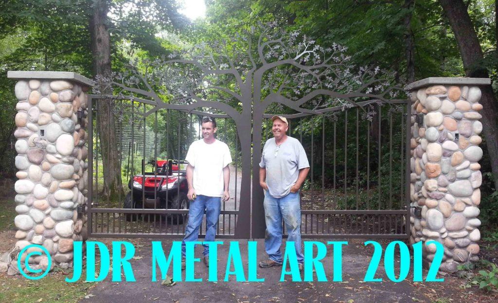 Oak Tree Driveway Gates Plasma Cut by JDR Metal Art unsmushed 2
